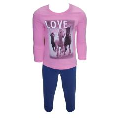 Mädchen Langarm Schlafanzug Pyjama, rosa