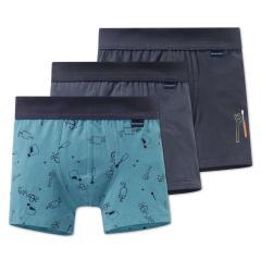 Jungen Unterhosen Shorts 3er Set mit Hamstermotiv, blau-dunkelblau - 163413