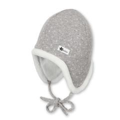 Baby Jungen Mädchen Mütze Inka-Mütze gefüttert Wintermütze zum Binden gepunktet, kieselgrau - 4401928