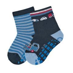 "Jungen Anti-Rutsch-Socken 2 Paar ABS-Söckchen Doppelpack ""Abschleppauto/gestreift"", marineblau - 8002020"