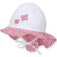 Mädchen Sommermütze zum Binden mit Nackenschutz, Flapper LSF 30, weiß Schmetterlinge - 1411911