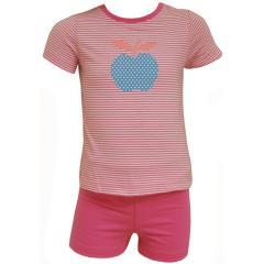 Baby Schlafanzug Kurzarm Mädchen Apfel, rosa