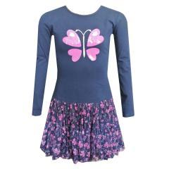 Mädchen Kleid Langarm mit Schmetterlingen, dunkelblau - 983181-52
