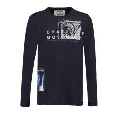 Jungen Shirt mit langen Armen, dunkelblau - T83603 292