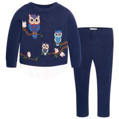 Mädchen Sweatshirt 2-Teiler mit Leggings, dunkelblau - 4733