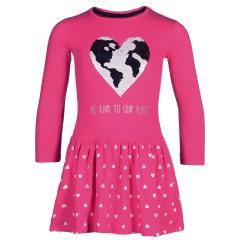 Eisend-Mädchen Langarm Kleid einfarbig- Glänzender Print ''Herz''- Pink-903801