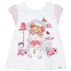 """Baby Mädchen Kleid kurzarm """"Mädchen mit Brille"""", rot - 1938"""