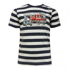 Jungen T-Shirt Kurzarm-Shirt Feuerwehr gestreift, dunkelblau - 73112136