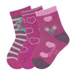 "3-er Set Mädchen Socken ""Maus"", knallviolett - 8321823"