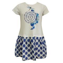 Mädchen festliches Kleid Sommerkleid Abendkleid gemustert, blau - KF20047