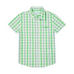 Jungen Hemd Sommerhemd kurzarm kariert Kragen Knopfverschluss Brusttasche, grün - 3123