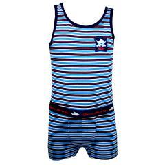 Capt n Sharky - Unterwäscheset Hemd uns Shorty Jungen, blau-gestreift
