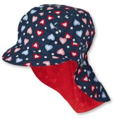 Mädchen Schirmmütze mit Nackenschutz, Sommermütze, dunkelblau rot, Herz - 1421927