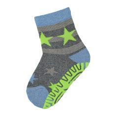 """Jungen Baby Fliesen Flitzer Air Anti-Rutsch-Socken mit rutschfester gefütterter ABS-Sohle neon, anthrazit mel. """"Sterne"""" - 8131902"""