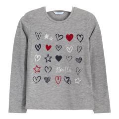 """Mädchen Shirt Langarmshirt Rundkragen Sterne und Herzen """"Brilla"""", grau - 7.073"""