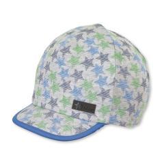 """Jungen Kinder Baby Schirmmütze Sonnenhut Cap mit LSF UV-Schutz 50+ """"Sterne"""",  silbergrau-blau – 1502060"""