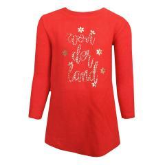 Mädchen Kleid mit langen Armen Strickkleid, rot - 4.964r