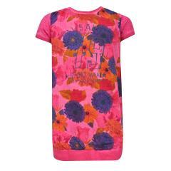 Mädchen Kleid kurzarm Blumenmuster, pink - 433055