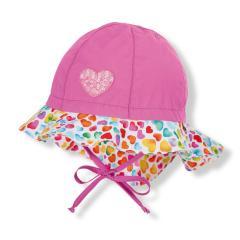 """Mädchen Kinder Baby Flapper Sommerhut zum Binden mit Nackenschutz, LSF UV-Schutz 50+ Sommermütze """"Herzen"""", pink – 1412010"""