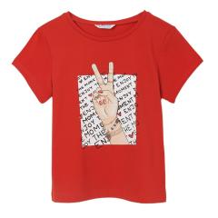 "Mädchen Sommer kurzarm T-Shirt Peace ""Enjoy the moment"" ,rot -6020r"
