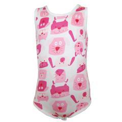 Body Baby Mädchen Ärmellos Hunde, weiß-pink