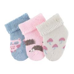 """Baby Mädchen Erstlingssöckchen 3er Set Plüsch Socken """"Eule Igel"""", rosa beige blau mel. - 8201916"""