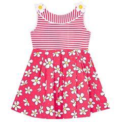 Mädchen Kleid ärmellos Sommerkleid Tunika Blümchen Motiv, weiß-pink
