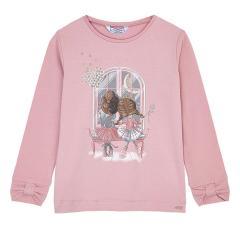"Mädchen T-shirt Langarmshirt Schleifen Armbündchen Glitzer ""Mädelsabend"",  rosa - 4.067r"