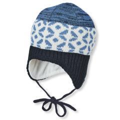 Baby Jungen Strickmütze zum Binden mit Muster und Baumwollfleece-Futter, marine blau beige - 4701945