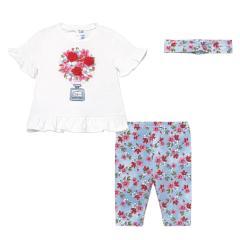 "Mädchen Baby Set 3-teilig Leggings Kurzarmshirt Stirnband ""Blumen"" hellblau-weiß -1713"