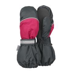 Mädchen Fausthandschuh Thermo-Handschuh mit reflektierendem Klettverschluss wasserdicht Stulpenhandschuh mit magenta Streifen, grau - 4321805