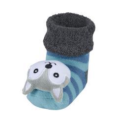 """Baby Jungen Rassel-Söckchen Plüsch-Socken, anthrazit türkis """"Wolf"""" - 8441902"""