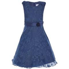 Mädchen Festmode festliches Kleid kurzarm dunkelblau -504163