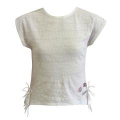 Mädchen T-Shirt ohne Arme gemustert, weiß - 7146000