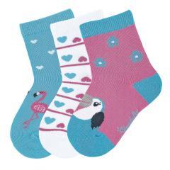 """Mädchen 3 Paar Söckchen Socken 3er-Pack """"Kakadu/Herzen/Flamingo"""", pink, türkis - 8322024"""