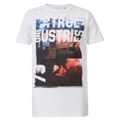 Jungen T-Shirt, Kurzarmshirt, Petrol Ind., weiß mit Aufdruck - TSR618