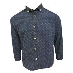 Jungen Hemd langarm gemustert, blau