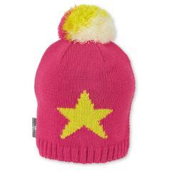 Mädchen Strickmütze Wintermütze mit Microfleece und Bommel, pink beige - 4721911