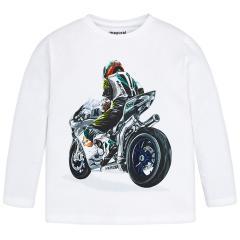 Jungen Shirt mit langen Ärmeln Motorradmotiv, weis - 4.030w