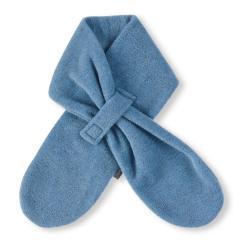 Jungen Baby Winter-Schal Microfleece mit Klettverschluss einfarbig, mittelblau mel. - 4201400