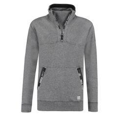 Jungen Sweatshirt mit langen Armen und mit Stehkragen, Grau - T83666 66
