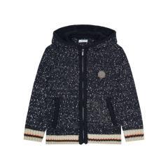 Mayoral Mädchen Strickjacke Kapuze mit Streifen und Reißverschluss Jackentaschen, dunkelblau - 4370