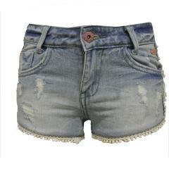 Short Mädchen mit weißen Fransen, jeans - RJG-71-463