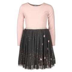 Eisend-Mädchen Langarm Kleid- gesternt- Altrosa und Grau-993121