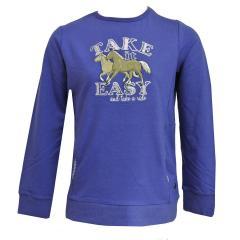 Mädchen Sweatshirt gefüttert Pferde, blau - 75111251
