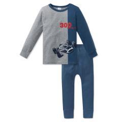 Schiesser Jungen Schlafanzug lang Rennwagen blau-graumelange - 163442