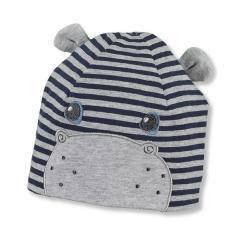 """Jungen Baby Sommermütze Beanie, UV-Schutz 50+, dunkelblau-grau mit Öhrchen """"Hippo"""" -  1611970"""