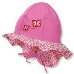 Mädchen Sommermütze zum Binden mit Nackenschutz, Flapper LSF 30, pink Schmetterlinge - 1411911