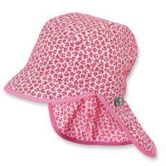 Mädchen Schirmmütze mit Nackenschutz, Sommermütze, rot, Blümchen - 1421926
