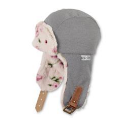 Mädchen Mütze gefüttert Fliegermütze Fleece Wintermütze zum Binden Glitzer gemustert, rauchgrau - 4421920